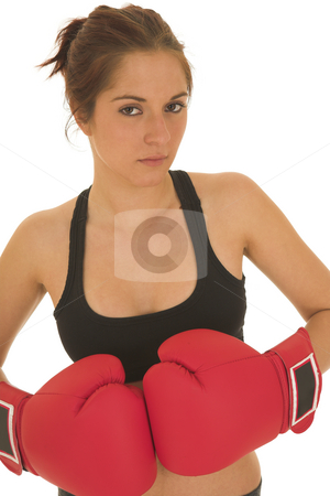 Boxer #05 stock photo, Brunette with red boxing gloves by Sean Nel