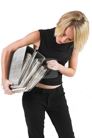 Business Lady #34 stock photo, Blond Business woman carrying files by Sean Nel