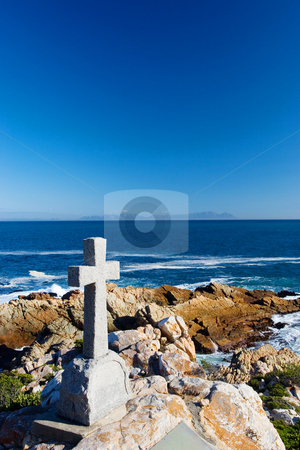 Graves #15 stock photo, Old stone Grave in the shape of a cross at Gordons Bay,  South Africa by Sean Nel