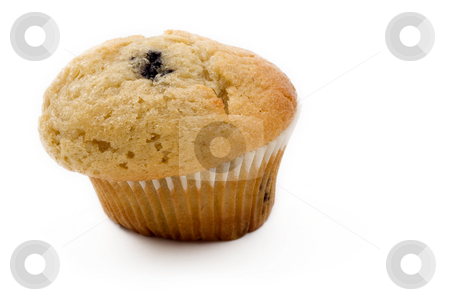 Food #13 stock photo, A single Blueberry muffin on a white background by Sean Nel