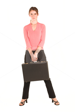 Businesswoman #420 stock photo, Brunette business lady in pink top.  Standing, holding a suitcase. by Sean Nel
