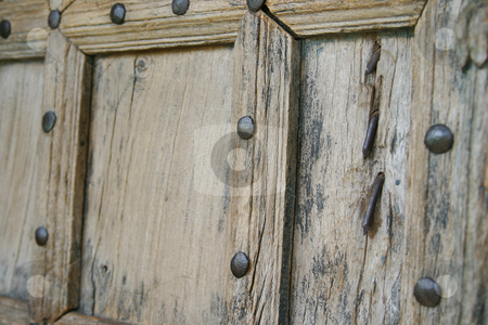 Moroccan door stock photo, Old weathered hand made door standing open by Sean Nel