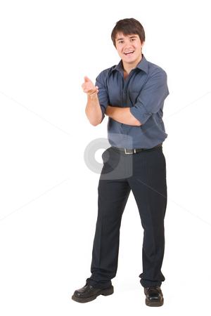 Businessman #63 stock photo, Businessman in blue shirt, talking by Sean Nel