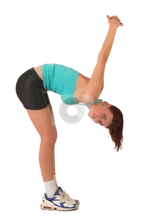 Gym #119 stock photo, Woman bending over, stretching. by Sean Nel