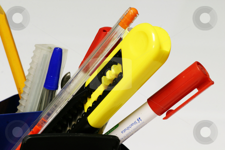 Pens and pencils stock photo, Various stationary items by Sean Nel