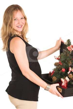 Business Woman #509 stock photo, Pregnant Business Woman, wearing black top, beige trousers, holding briefcase with Christamas Tree inside. by Sean Nel