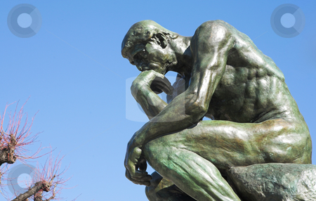 The Thinker in St Paul  stock photo, A copy of the famous bronze sculpture of Auguste Rodin  by Sean Nel