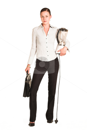 Charmaine Shoultz #21 stock photo, Business woman dressed in a white pinstripe shirt.  Carrying a leather suitcase and a blender by Sean Nel