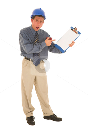 Businessman #100 stock photo, Man is upset pointing at clipping board. by Sean Nel