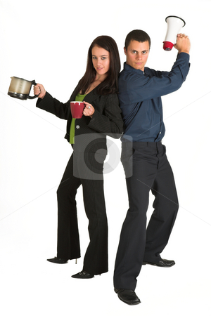 Business team #52 stock photo, Business team. Man with Megaphone, lady with coffee by Sean Nel