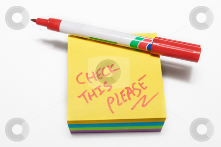 Notepad #8 stock photo, Red fiber tipped pen and sticky pad note by Sean Nel