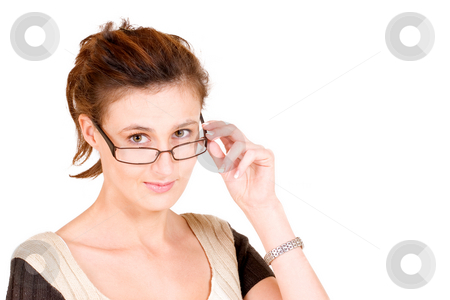 Business Lady #93 stock photo, Business woman with glasses - holiding glasses by Sean Nel