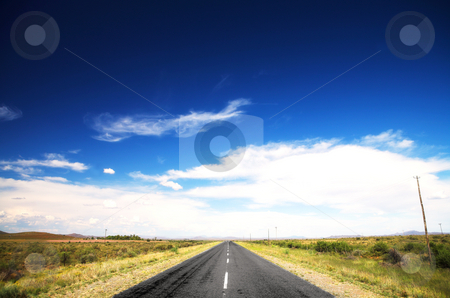 Road and blue sky stock photo, Long straight road under a dramatic dark blue saturated sky with some fine white clouds, and lined with some greenery and small shrubs by Sean Nel