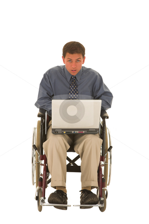 Businessman #132 stock photo, Man working on a laptop sitting in a wheelchair. by Sean Nel