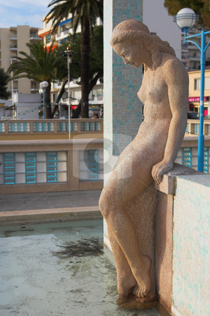 JuanLesPins #1 stock photo, The famous bathing lady on the Juan Les Pins waterfront, France - Sunset by Sean Nel