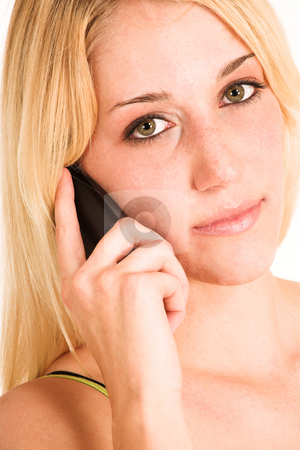 Business Woman #451 stock photo, Close up of Blonde Business Woman talking on phone by Sean Nel