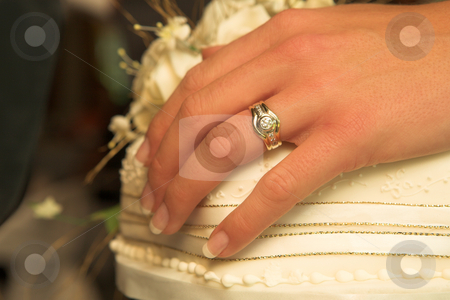 Wedding #43 stock photo, Close-up of a hand with weddingband of a bride.  Shallow D.O.F by Sean Nel