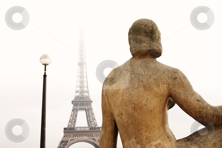 Paris #40 stock photo, A statue in the foreground with the Eiffel Tower in Paris, France.  Copy space. by Sean Nel