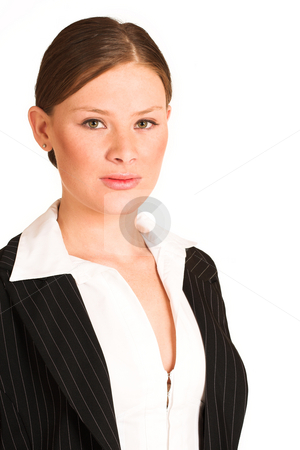Business Woman #221(GS) stock photo, Business woman dressed in a pinstripe suit. by Sean Nel