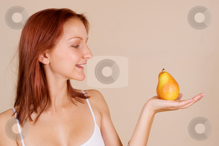 Trudy-Lee Markotter #2 stock photo, Woman holding a pear by Sean Nel
