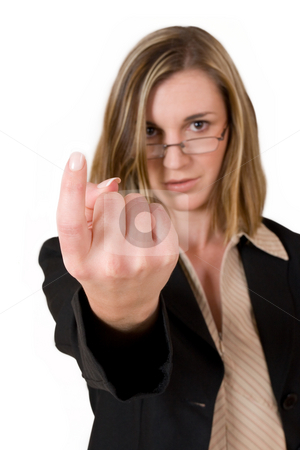 Business Lady #88 stock photo, Business woman finger in air - Shallow DOF, Finger in focus, face out of focus by Sean Nel