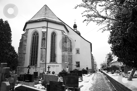 Kirchberg #11 stock photo, Graveyard covered in snow.  Black and white. Copy space. by Sean Nel