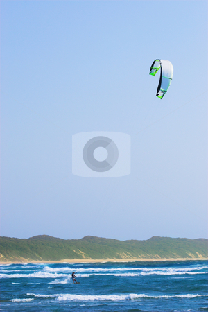 Sudwana #18 stock photo, A person kite surfing in Sudwana by Sean Nel