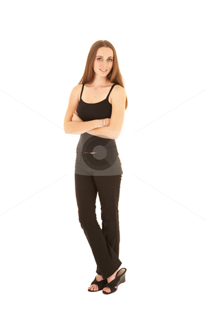 Sexy brunette businesswoman stock photo, Sexy young adult Caucasian businesswoman in a black office outfit against a white background. NOT ISOLATED by Sean Nel