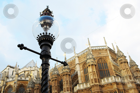London #54 stock photo, Westminster Central hall, London.  shallow DOF - streetlight in focus, building out of focus. by Sean Nel