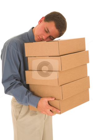 Businessman #84 stock photo, Man holding boxes while sleeping. by Sean Nel