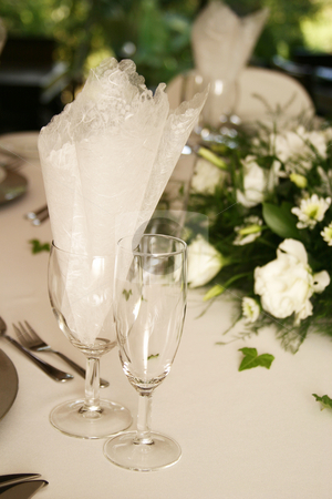 Champagne Glasses stock photo, Table setting with champagne glasses by Sean Nel