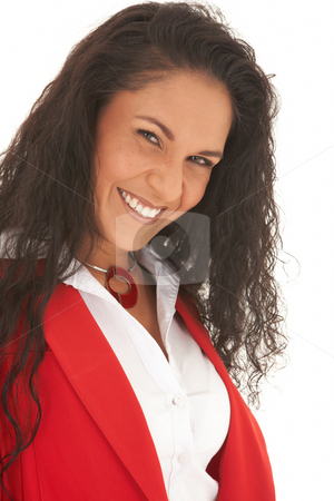 Beautiful Caucasian businesswoman stock photo, Portrait of a beautiful young Caucasian businesswoman with long curly hair wearing red suit on white background. NOT ISOLATED by Sean Nel