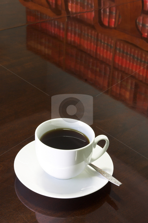 Legal Coffee Cup #1 stock photo, White Coffee cup with Legal Library on table reflection by Sean Nel