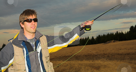 Flyfishing #5 stock photo, A fly fisherman casting a line in Dullstroom, South Africa by Sean Nel