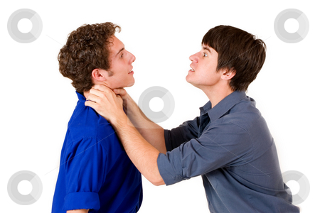 Business People #13 stock photo, Two business partners, one strangling the other by Sean Nel