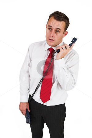 Businessman #45 stock photo, Business man being shouted at on the phone by Sean Nel
