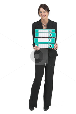 Businesslady #77 stock photo, Dark haired business woman with Lever arch files - Looking up by Sean Nel