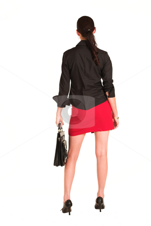 Charmaine Shoultz #11 stock photo, Business woman dressed in a black shirt and red skirt.  Holding a leather suitcase by Sean Nel