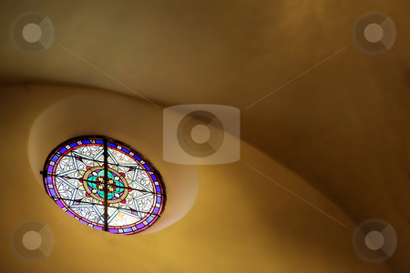 Stained glass window of st Paul  stock photo, Stained glass window close to the roof inside a chapel by Sean Nel