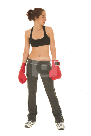 Boxer #14 stock photo, Brunette with red boxing gloves by Sean Nel