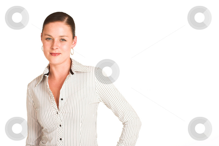 Business Woman #34 stock photo, Business woman dressed in a white pinstripe shirt. Copy space by Sean Nel