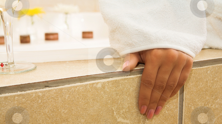 Woman #75 stock photo, Hands of a female, dressed in a gown by Sean Nel
