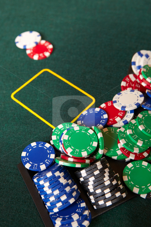 Card gambling stock photo, Chips and gambling around a green felt poker table. Shallow Depth of field by Sean Nel
