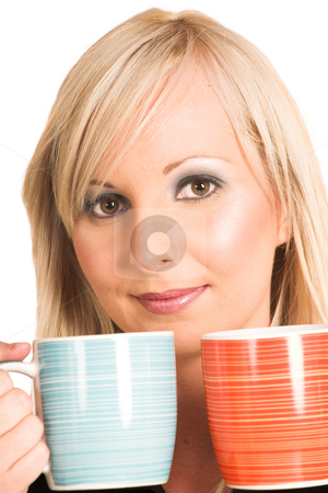 Business Woman #298 stock photo, Blond business woman dressed in black trousers and a black shirt. Holding two mugs. by Sean Nel