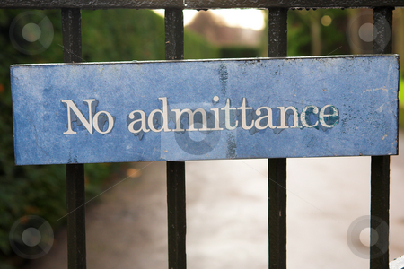 Signs #2 stock photo, Blue sign - No admittance by Sean Nel