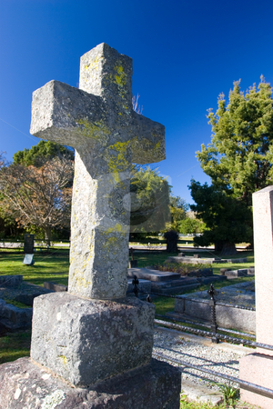 Graves #2 stock photo, Old stone Grave in the shape of a cross at the Belvedere Church, Knysna, South Africa by Sean Nel