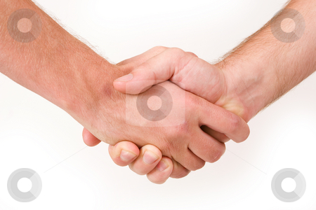 Businesspeople #17 stock photo, Two business partners shaking hands - close up, copy space by Sean Nel