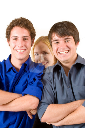 Business People #15 stock photo, Three business partners smiling, two men, one woman by Sean Nel