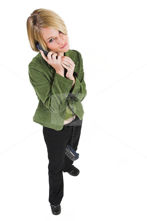 Business Lady #14 stock photo, Blond Business woman with telephone by Sean Nel