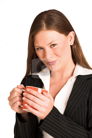 Business Woman #217(GS) stock photo, Business woman dressed in a pinstripe suit, hoding a mug by Sean Nel